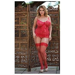 SoftLine Plus Size Gorset And G-String Adel Model: 1856 Red XXL Gorset i stringi czerwone XXL