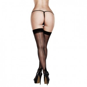 Pończochy - Baci Sheer Cuban Heel Thigh Highs Queen Size