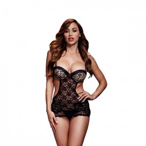 Koszulka - Baci Leopard Lace Cut Out Basque No Panty One Size