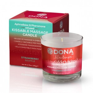 Jadalna świeca do masażu - Dona Kissable Massage Candle Strawberry Soufflé Truskawkowa