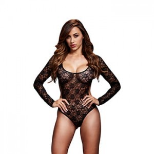 Body - Baci Black Lacy Bodysuit Back Cutout One Size